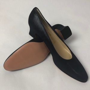 Ferragamo Textured Navy Block Heels 7.5